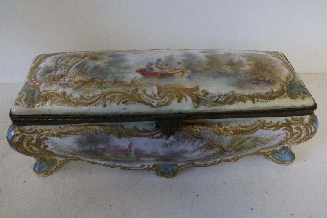 French Sevres porcelain hand painted Dresser Box - 3