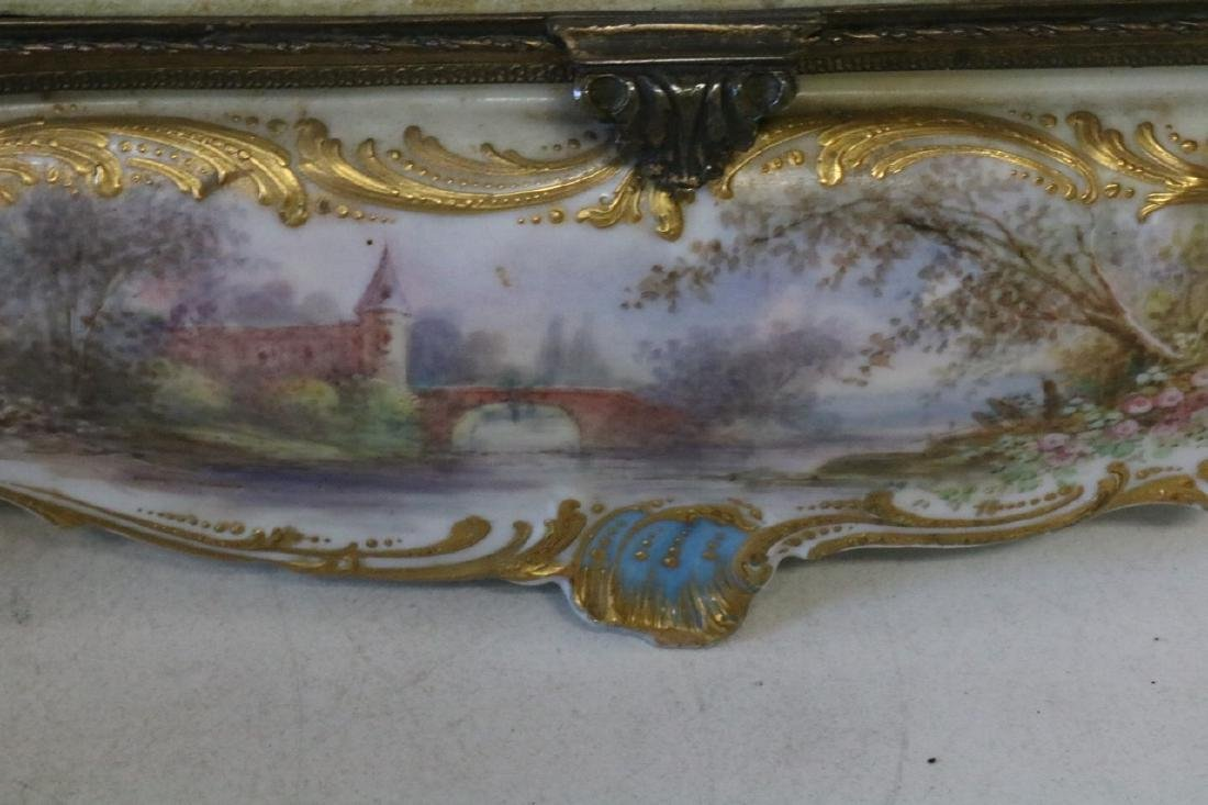 French Sevres porcelain hand painted Dresser Box - 7