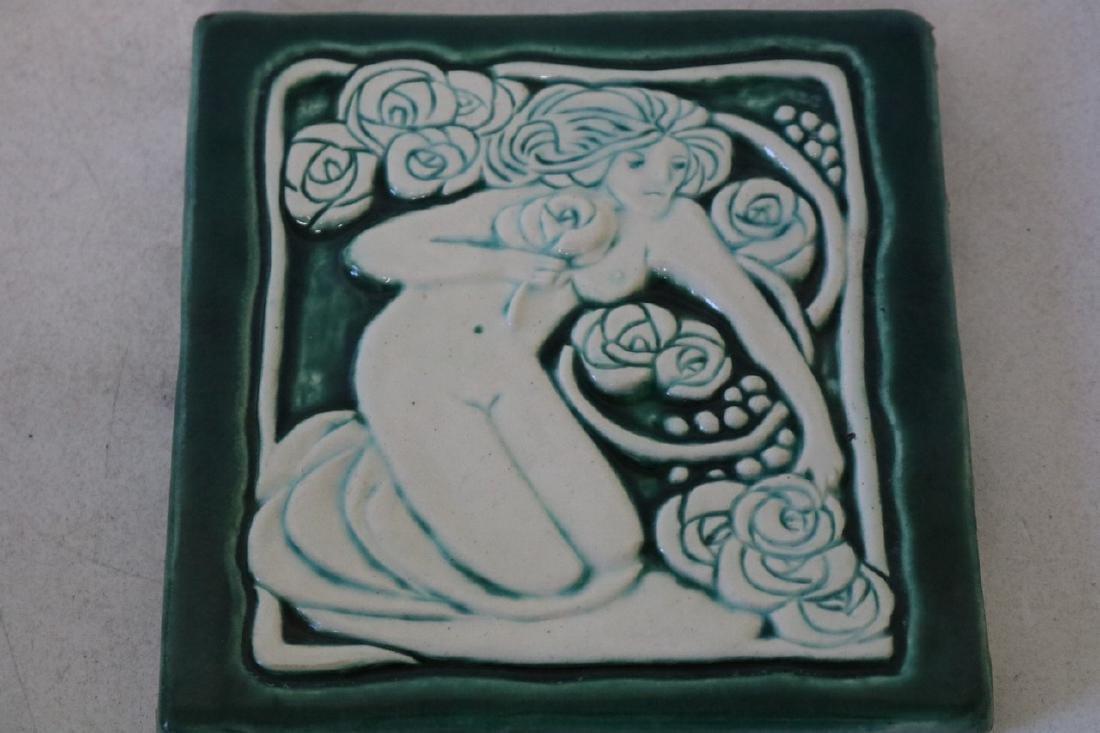 Antique Porcelian Tile, Relief, Woman Nude
