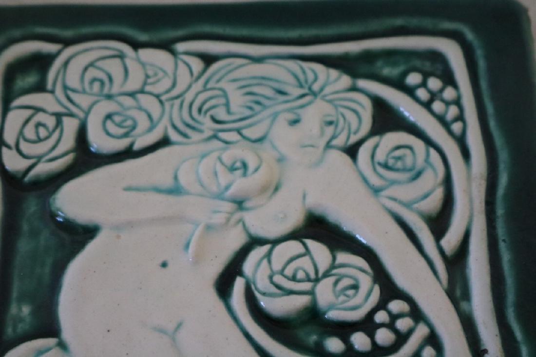 Antique Porcelian Tile, Relief, Woman Nude - 2