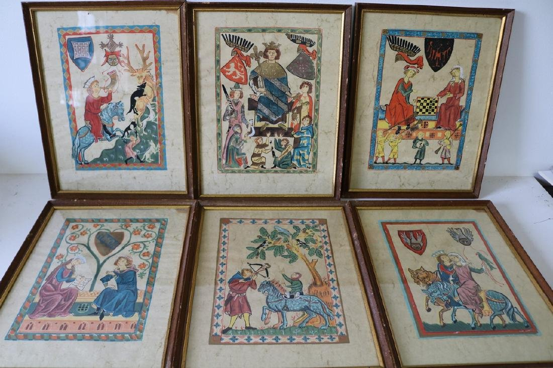 Lot of 6 Codex Manesse Illustrations