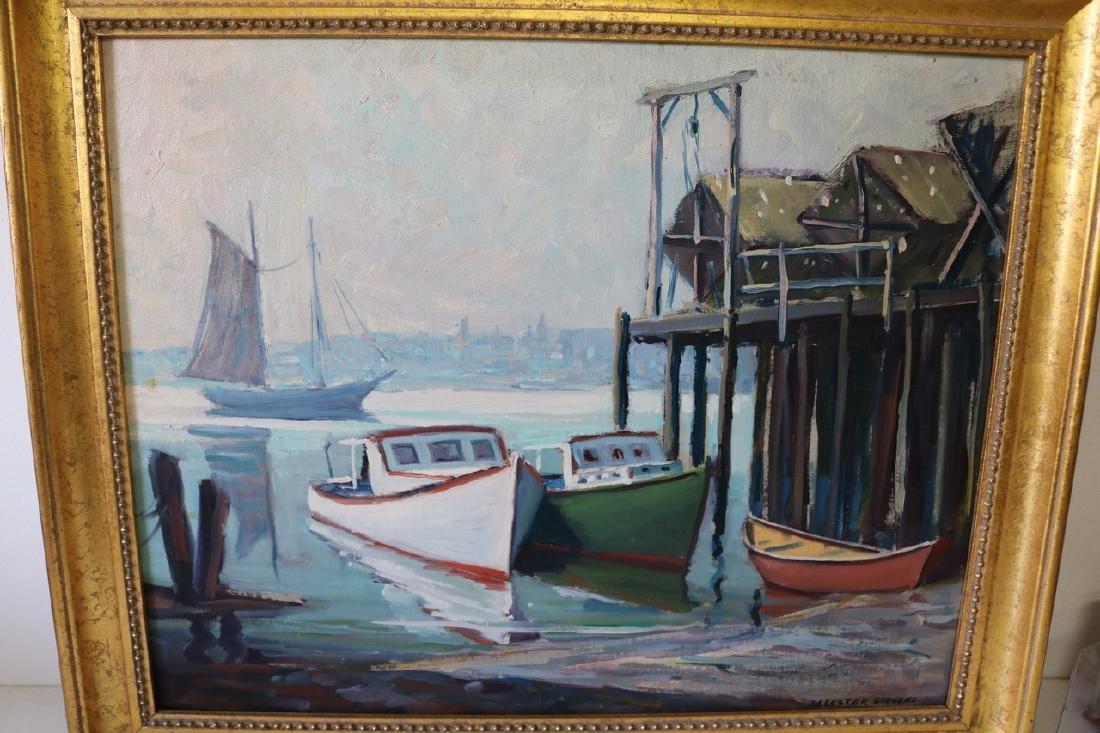 William Lester Stevens, Oil on Board, Dockside Scene