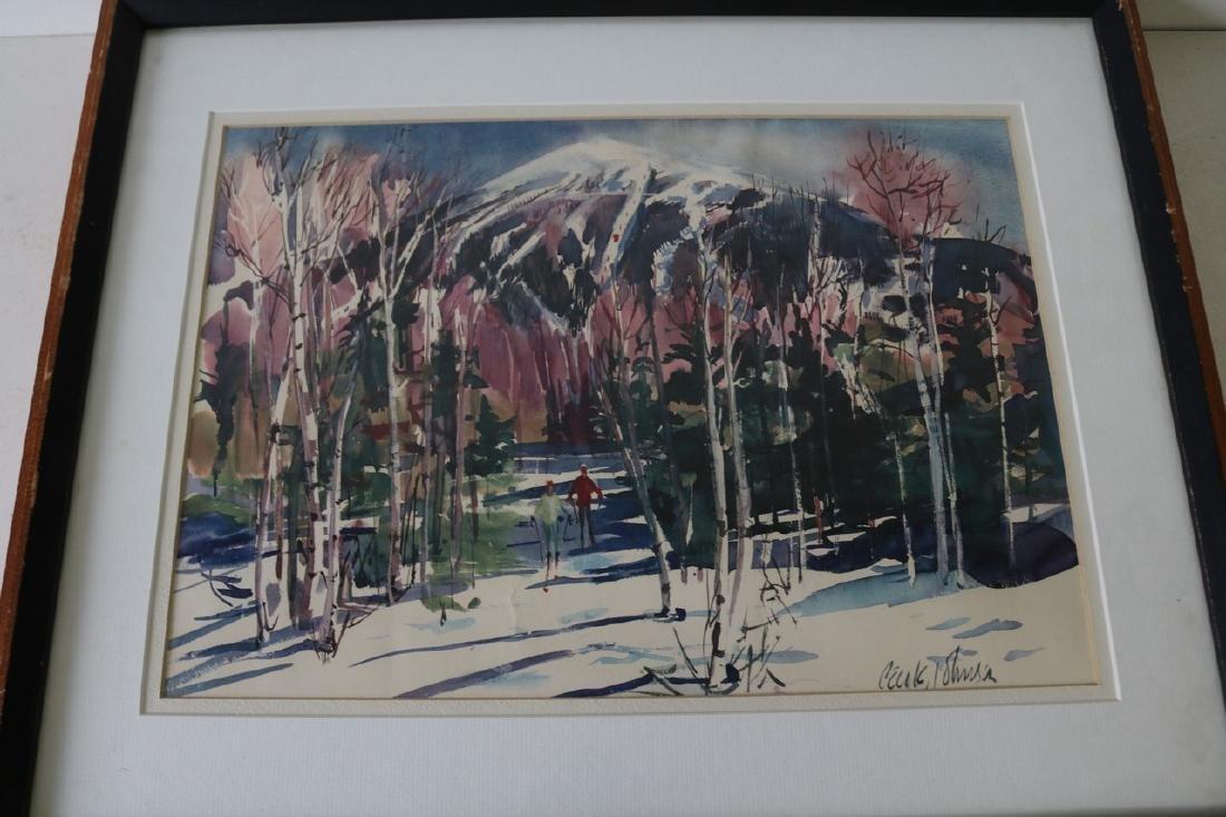 Watercolor, Ski Mountain Scene