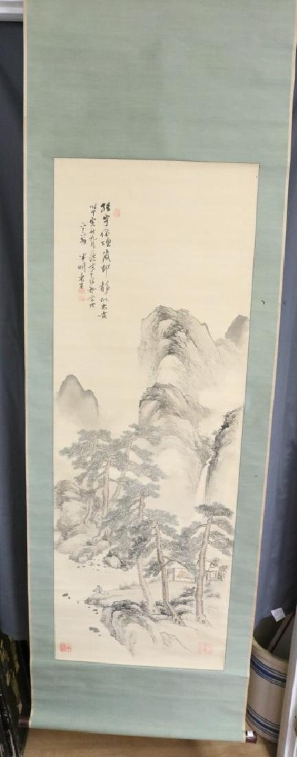 Japanese Hanging Scroll, Mountain, Pine Trees, & House