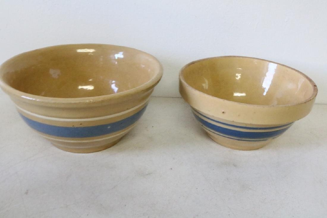 Pair of Yellow Ware Blue Banded Bowls