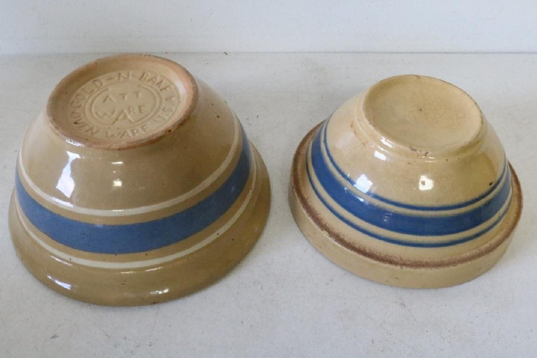 Pair of Yellow Ware Blue Banded Bowls - 2