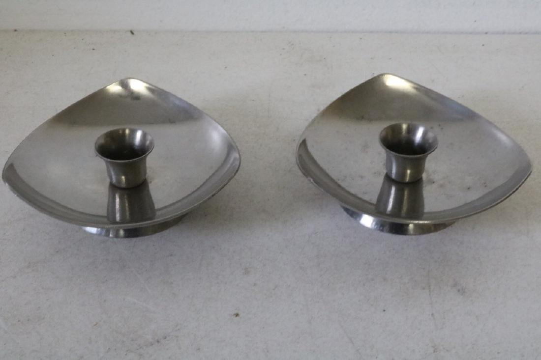 Pair of Denmark Stainless Steel Candleholders
