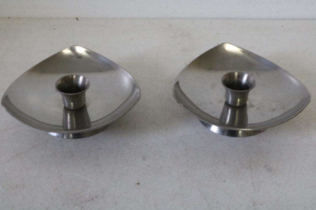 Pair of Denmark Stainless Steel Candleholders