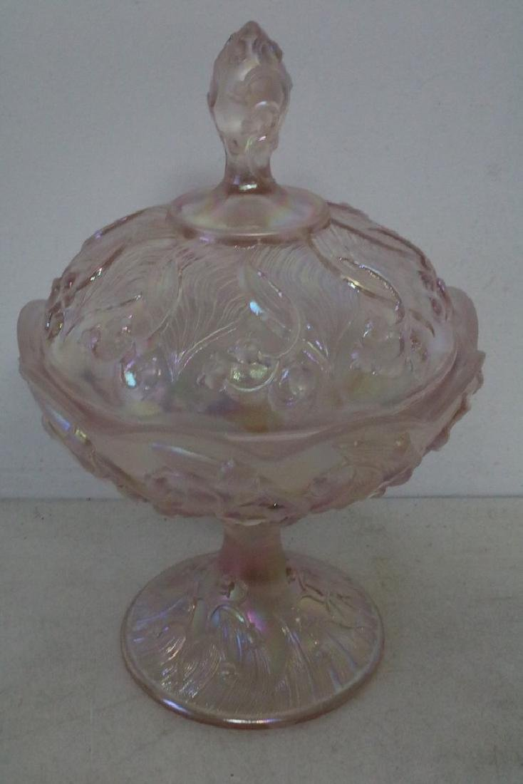 Pink Fenton Art Glass Covered Candy Dish