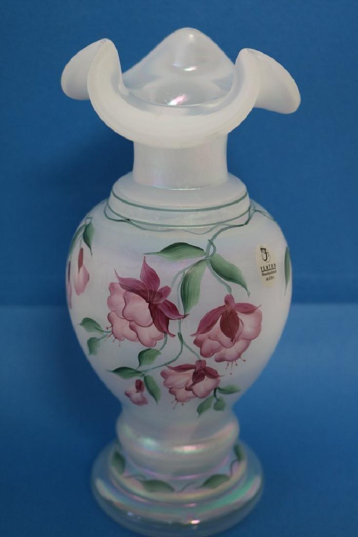 Fenton iridescent white hand painted vase