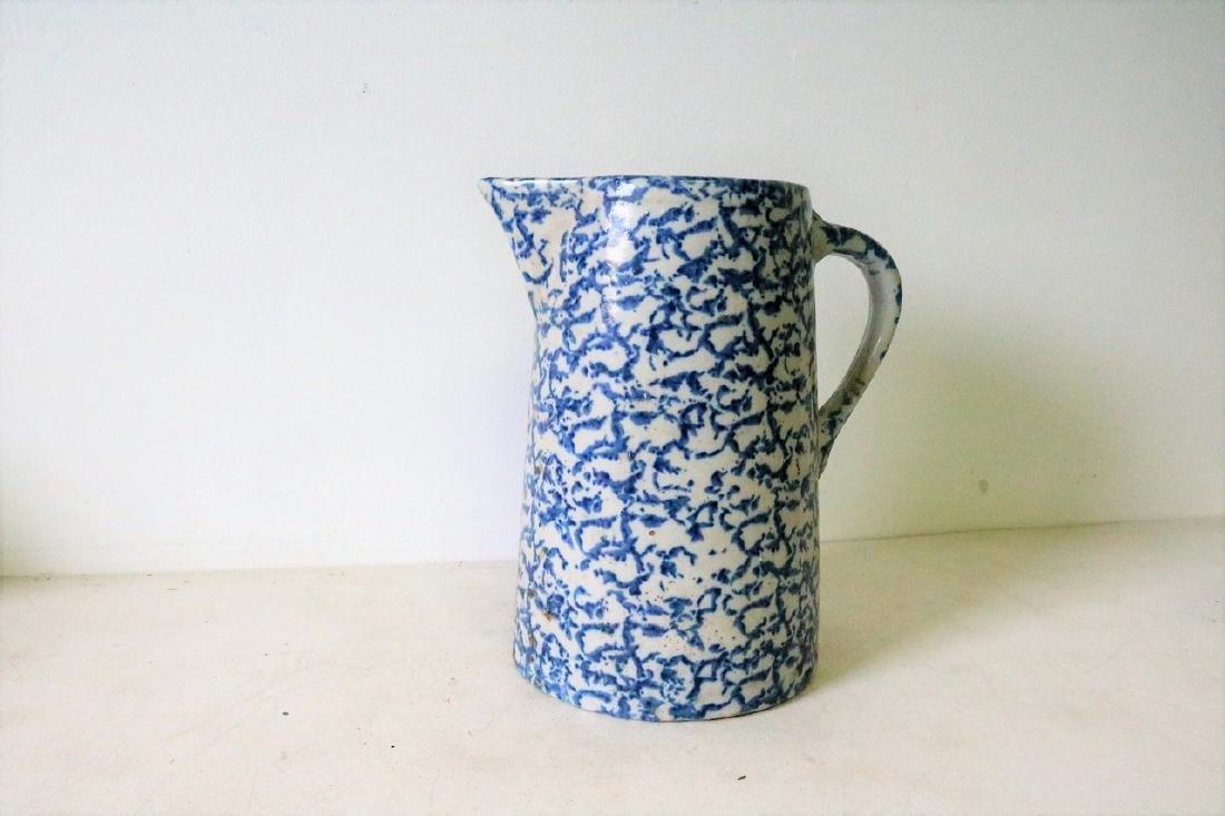 Vintage Blue and White Spongeware Pitcher