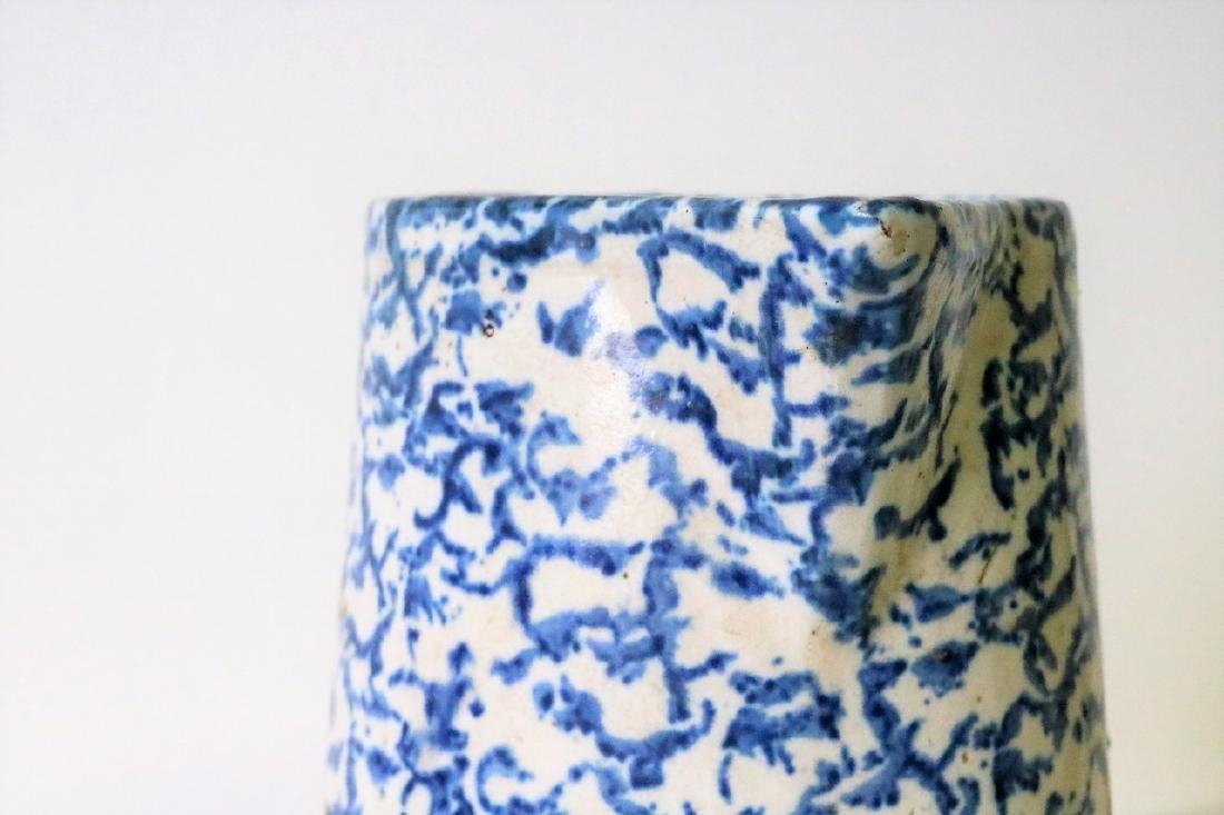 Vintage Blue and White Spongeware Pitcher - 2