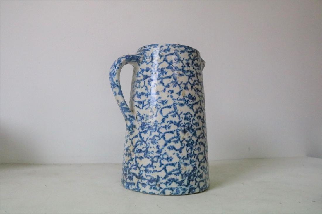 Vintage Blue and White Spongeware Pitcher - 3