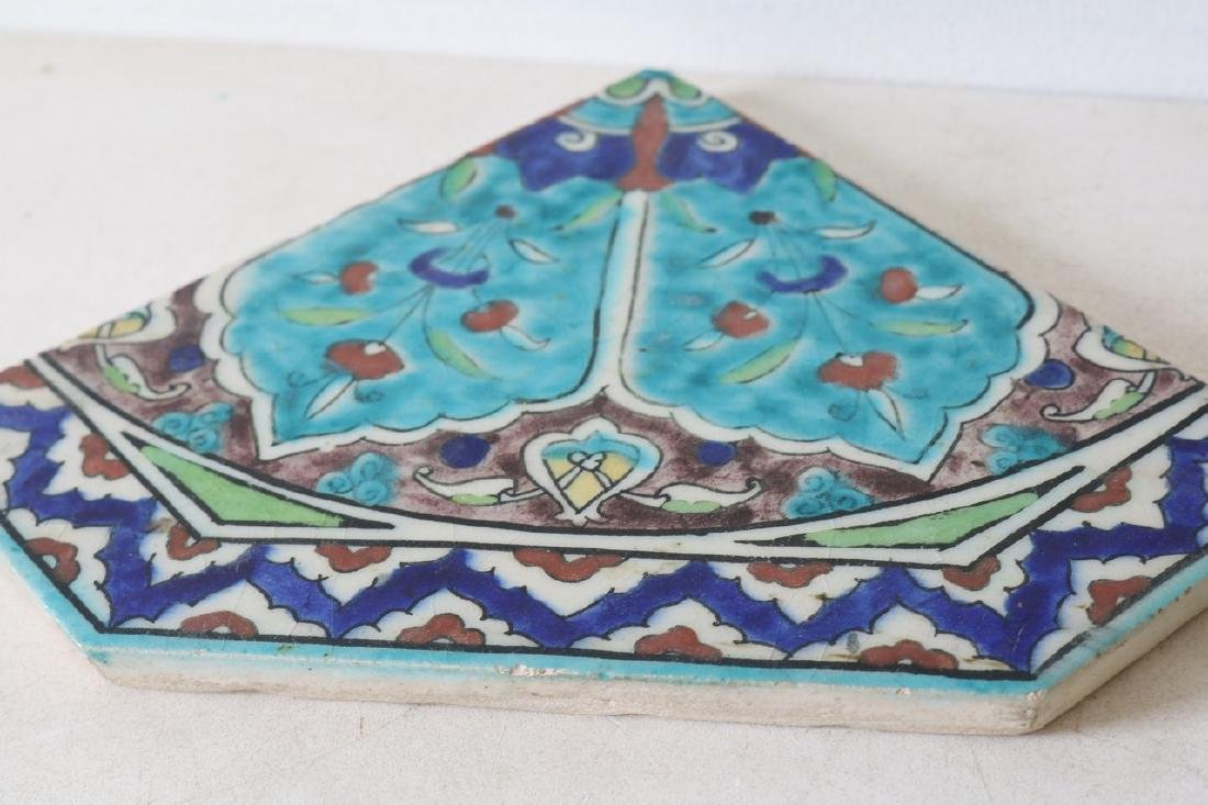 4 Antique Hand Painted Ceramic Tiles, made in Greece - 6