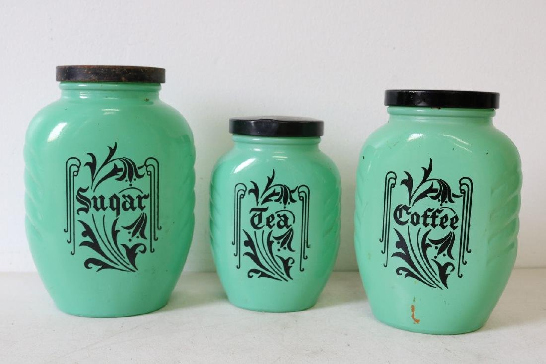 3 Piece Lot Anchor Hocking Vintage Green Canister Jars