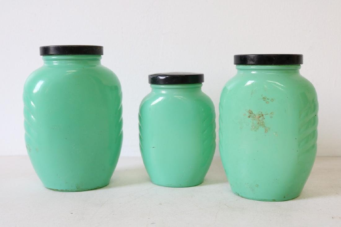 3 Piece Lot Anchor Hocking Vintage Green Canister Jars - 5