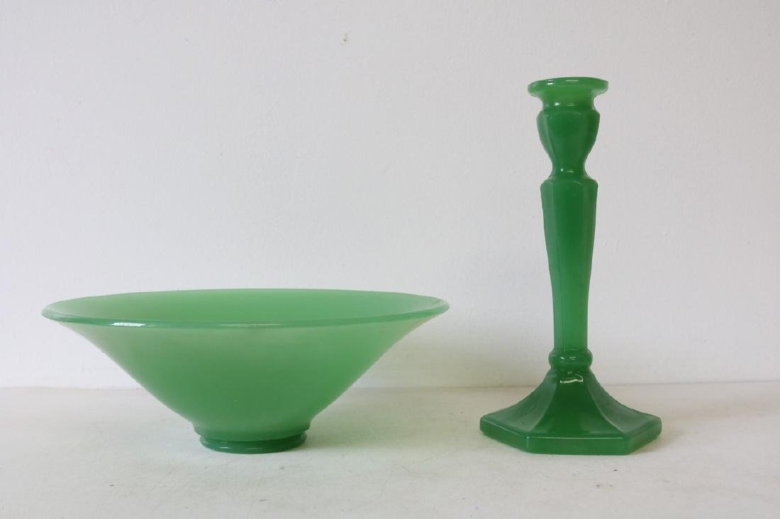 Vintage 1950s Green Glass Bowl and Candlestick