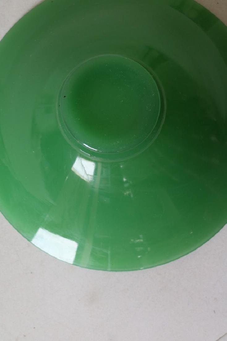 Vintage 1950s Green Glass Bowl and Candlestick - 6