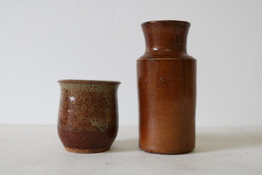 Antique Pottery Bottle and Cup