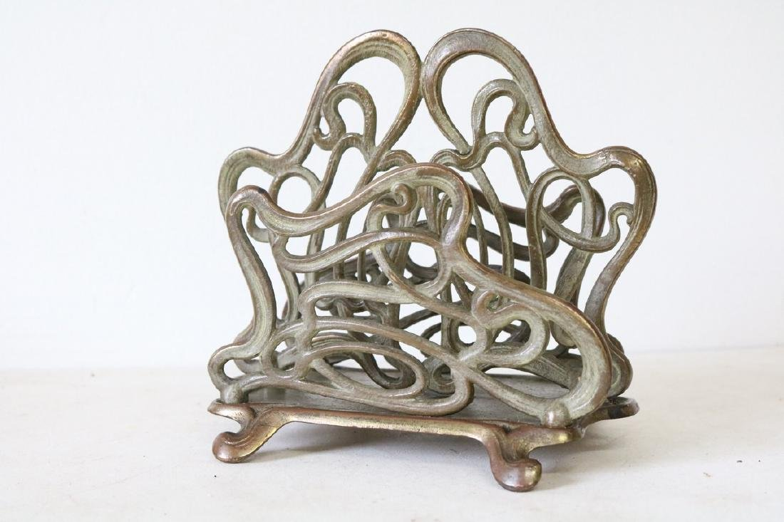 Art Nouveau 2 section letter holder in brass