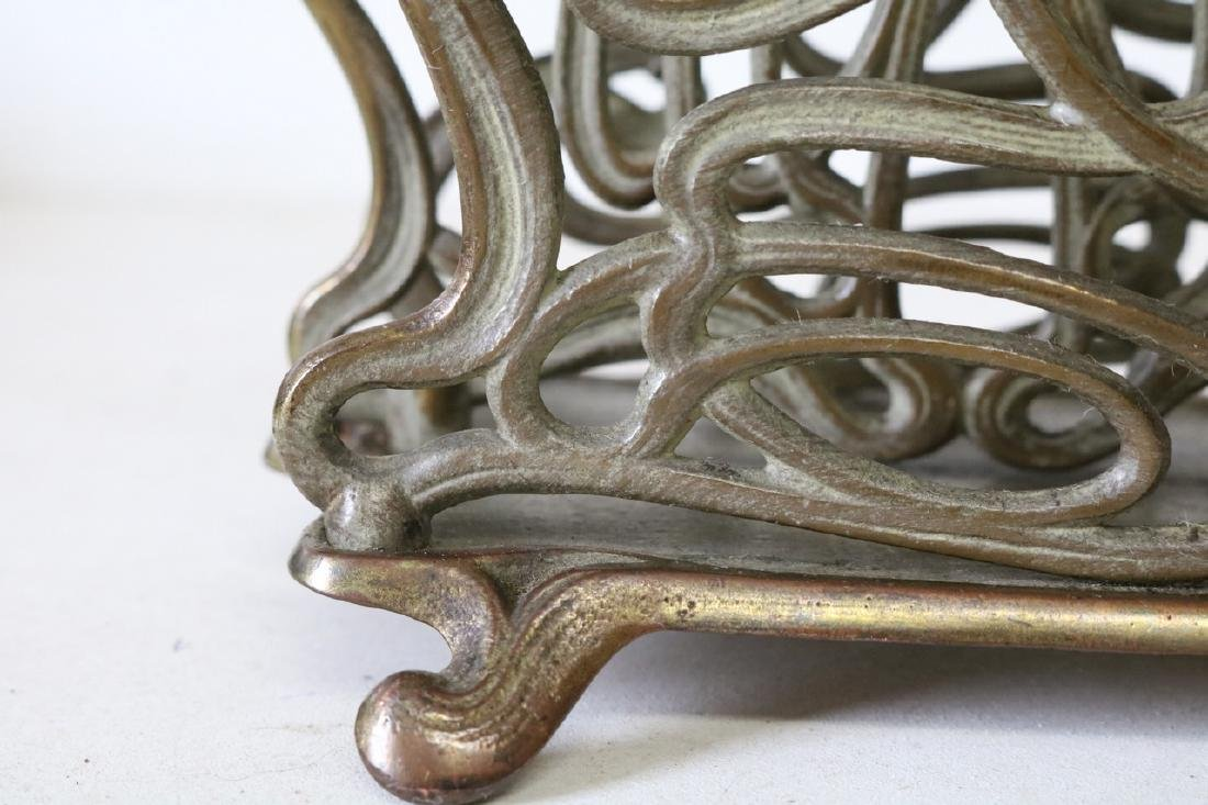 Art Nouveau 2 section letter holder in brass - 4
