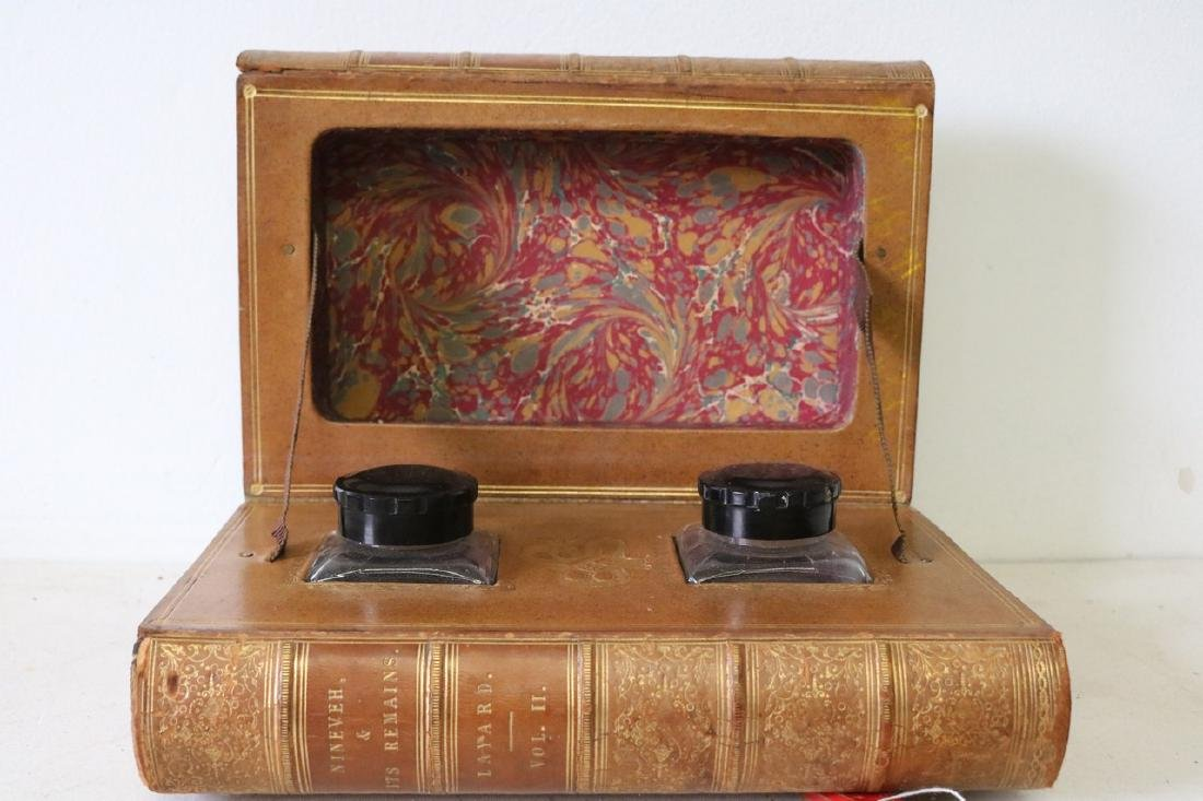 Vintage Book Double Inkwell Holder Case