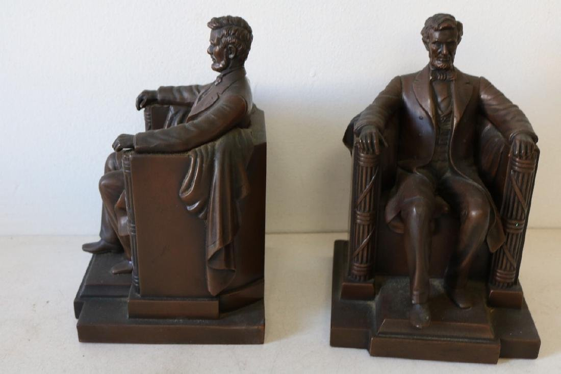 Pair Bronze Lincoln Book Ends by D.C. French - 3