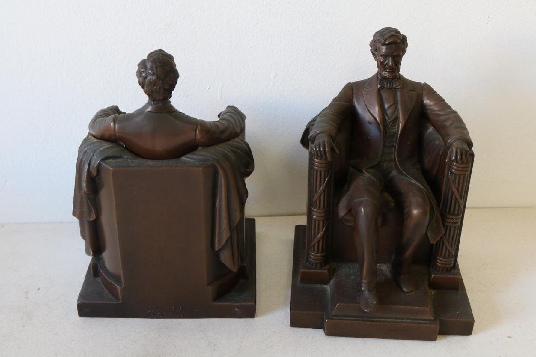 Pair Bronze Lincoln Book Ends by D.C. French - 4