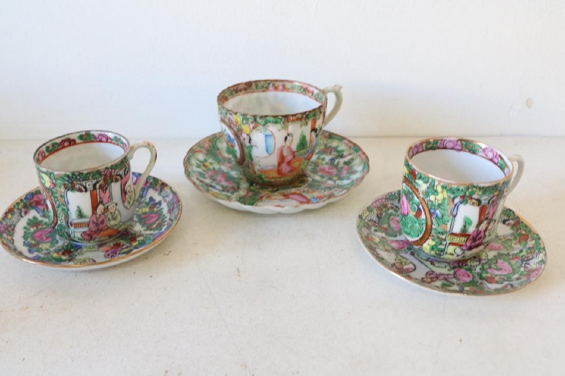 Lot of 3 Asian Cups & Saucers