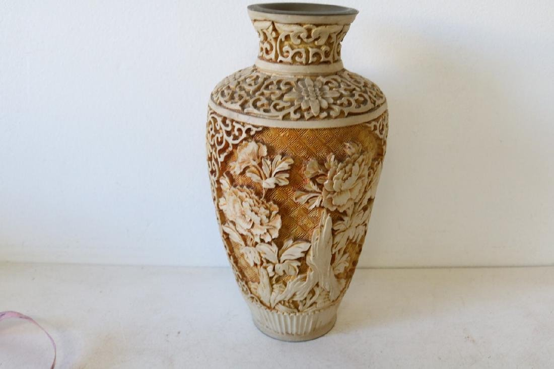 Hand Carved Asian Vase