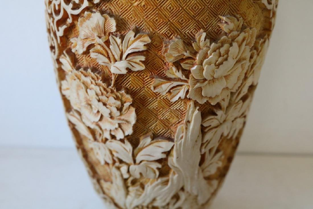 Hand Carved Asian Vase - 2