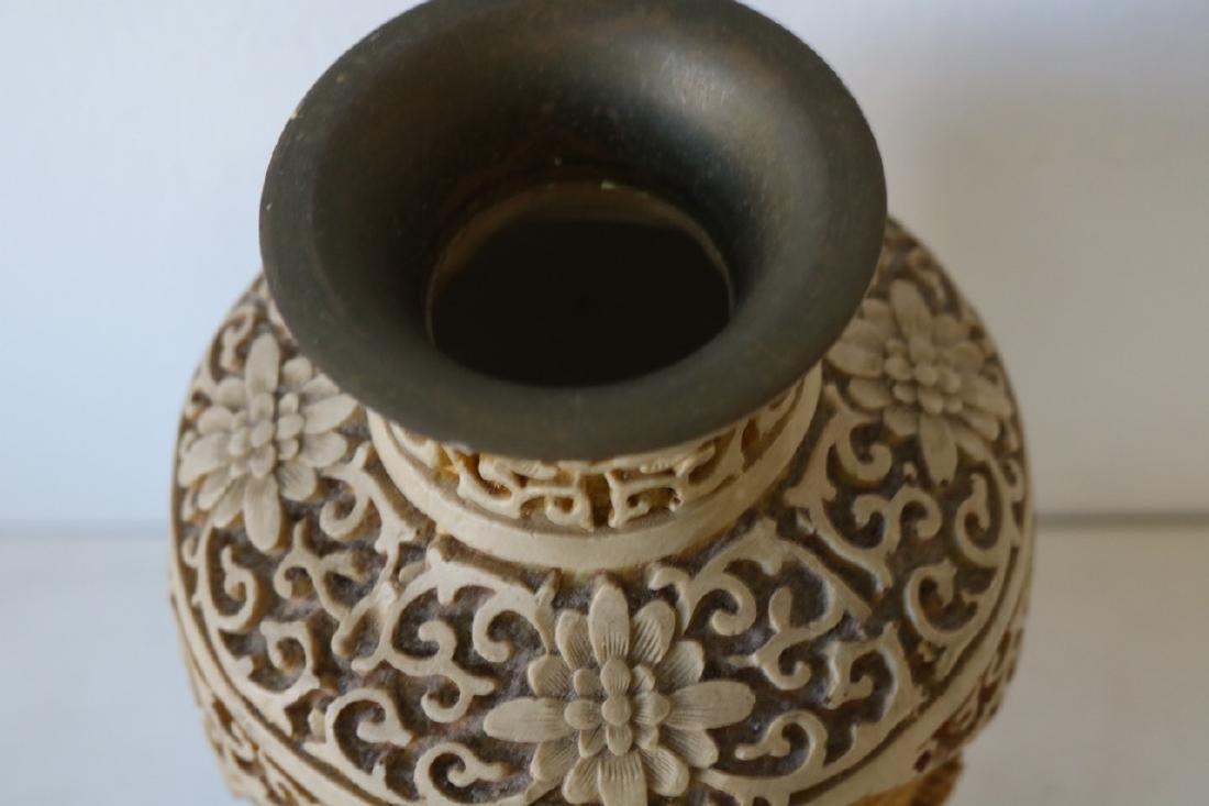 Hand Carved Asian Vase - 4