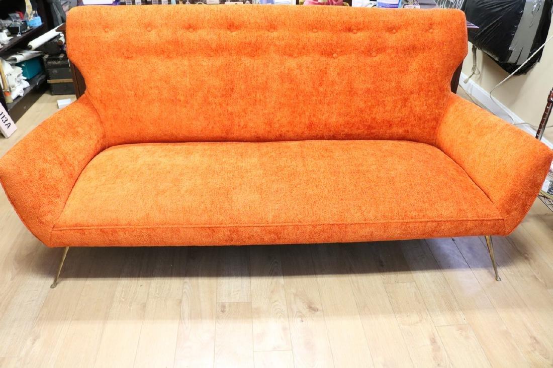 Mid-Century Modern Orange Sofa with Brass Legs