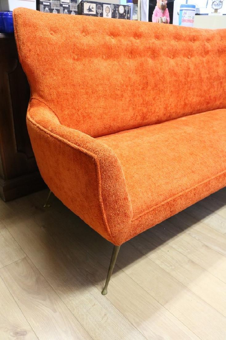 Mid-Century Modern Orange Sofa with Brass Legs - 2
