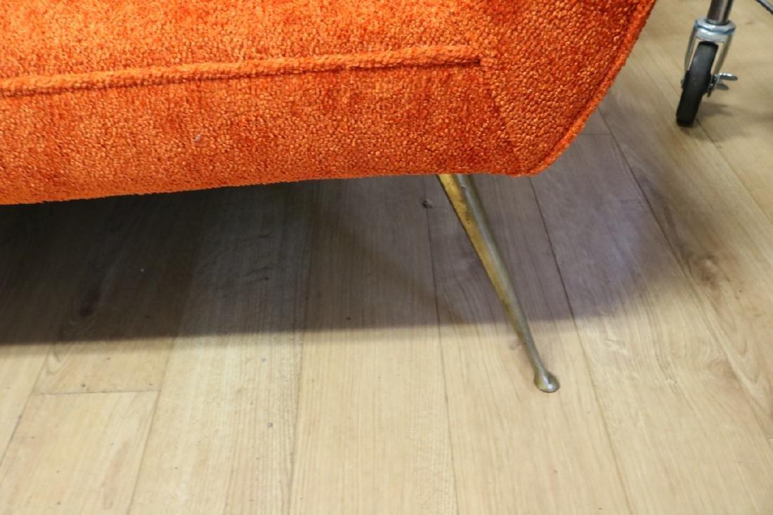 Mid-Century Modern Orange Sofa with Brass Legs - 3