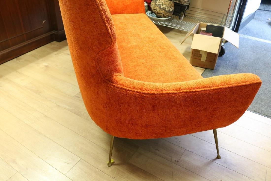 Mid-Century Modern Orange Sofa with Brass Legs - 4