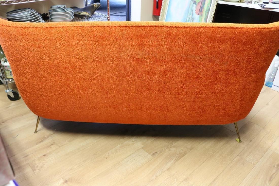 Mid-Century Modern Orange Sofa with Brass Legs - 5
