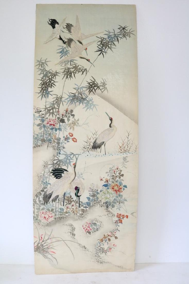 Asian Painting & Embroidery On Silk, Red Crested Cranes