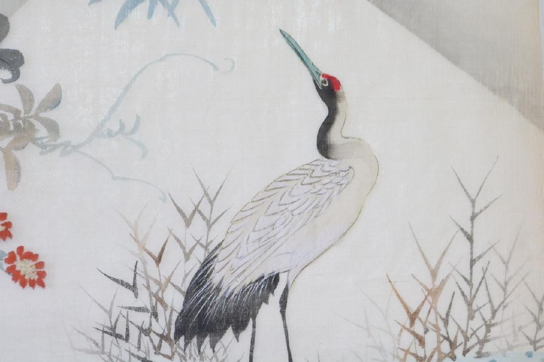 Asian Painting & Embroidery On Silk, Red Crested Cranes - 3