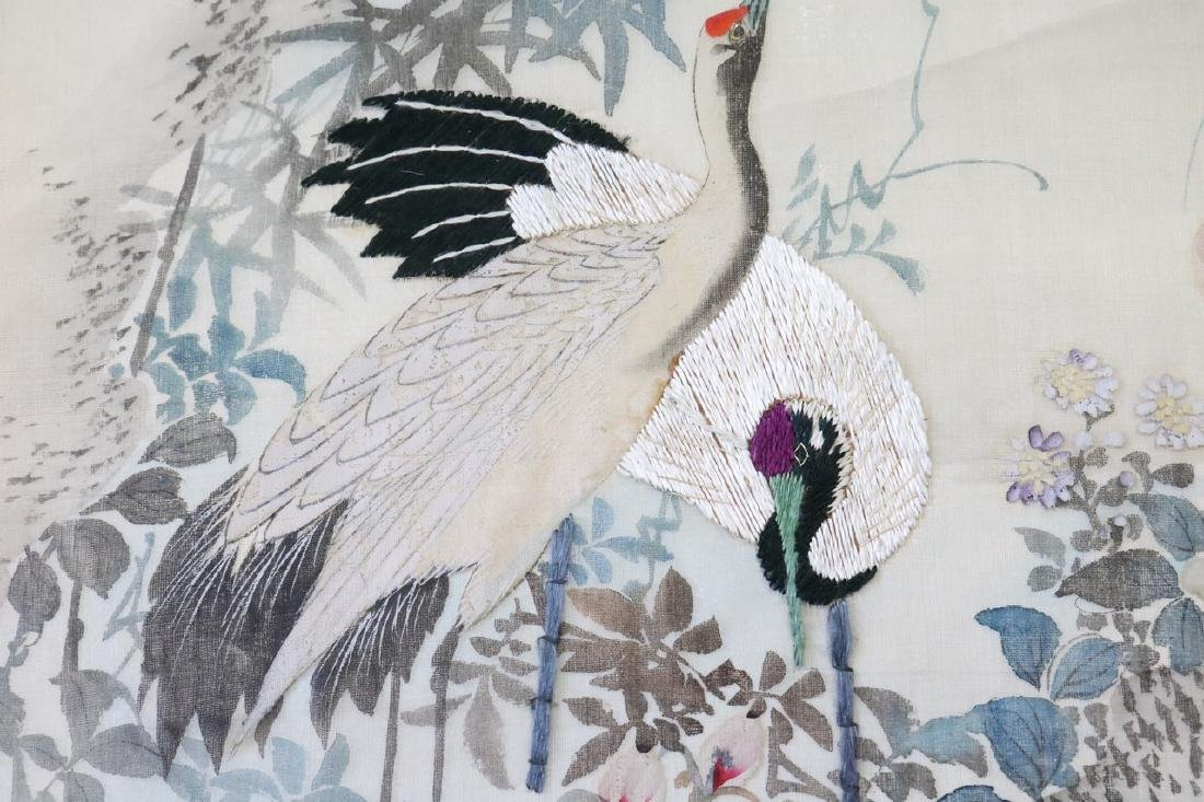 Asian Painting & Embroidery On Silk, Red Crested Cranes - 4