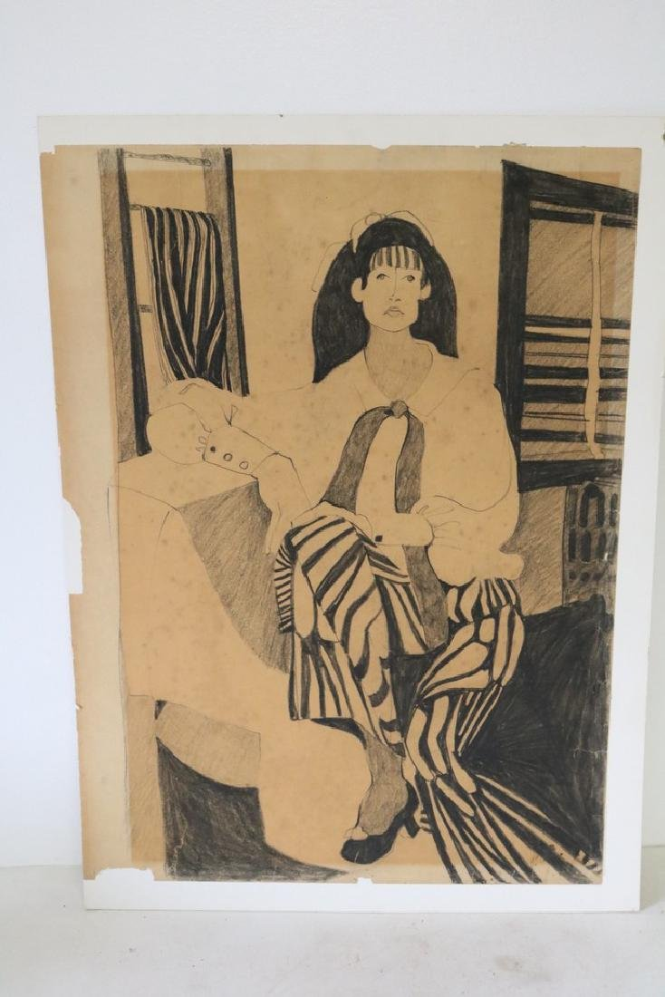 Circa 1970's Drawing of Seated Woman