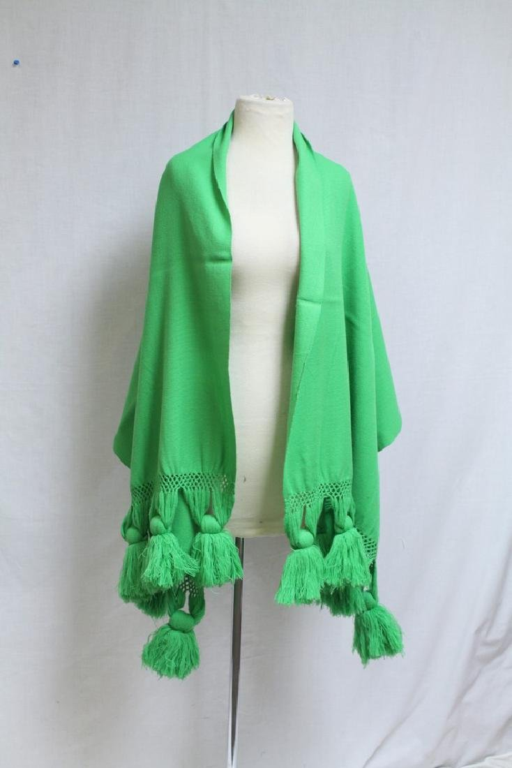 Vintage 1960's Green Fringed Wool Wrap