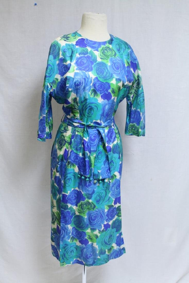 Vintage 1960s Blue & Green Rose Print Silk Dress
