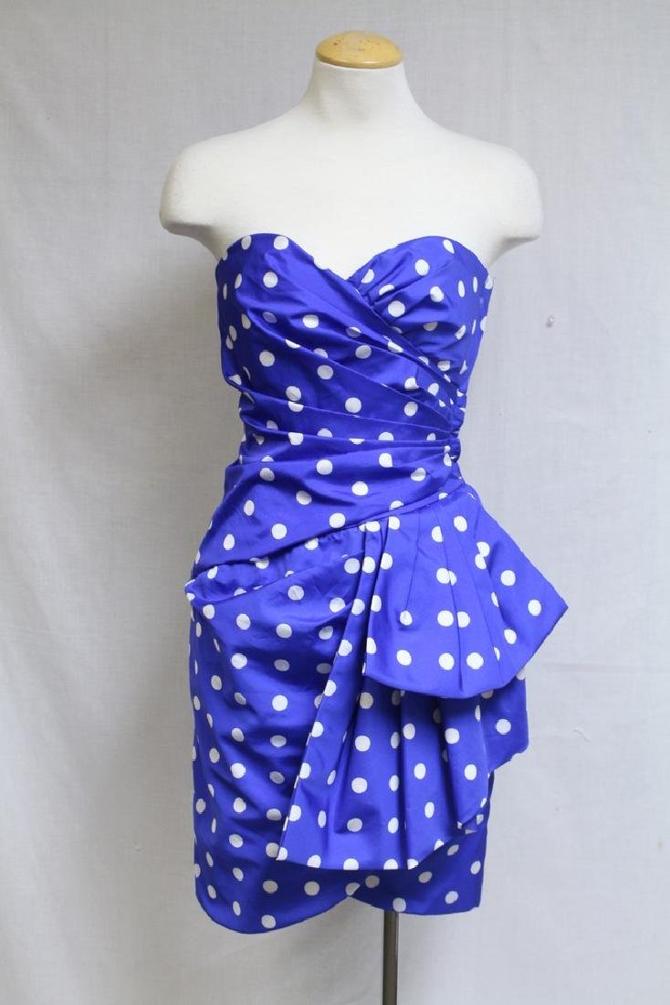 Vintage 1980s Victor Costa Polka Dot Party Dress