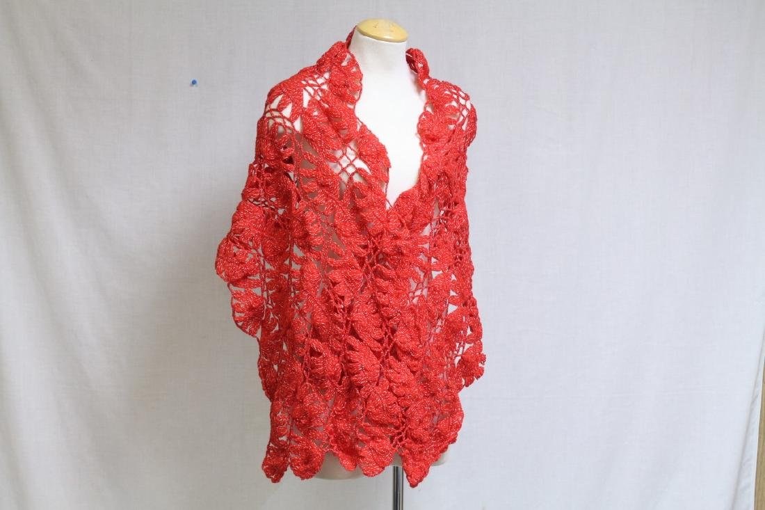 Vintage 1970s Red Crocheted Wool Shawl