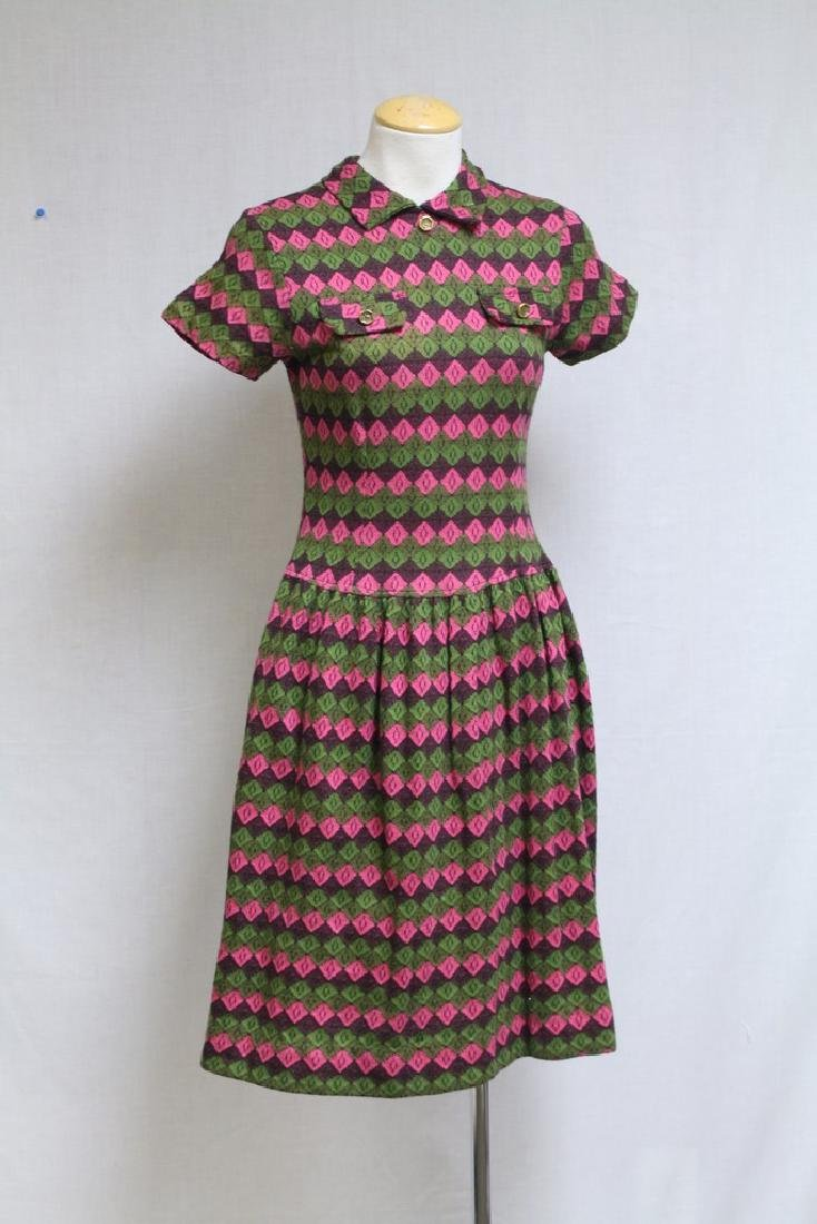 Vintage 1960s Green & Pink Argyle Knit Dress
