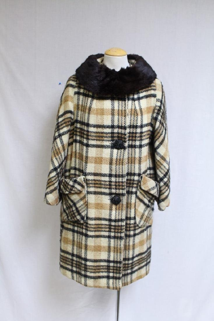 Vintage 1960s Plaid Wool Coat with Fur Collar