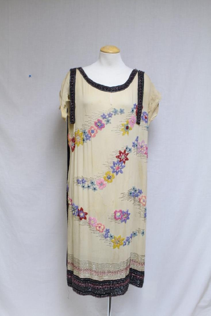 Vintage 1920s Beaded Silk Dress