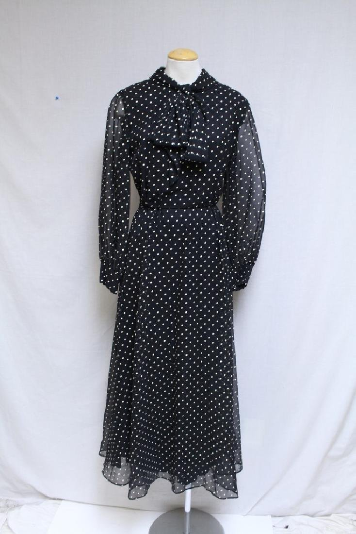 Vintage 1970s Black & White Polka Dot Dress