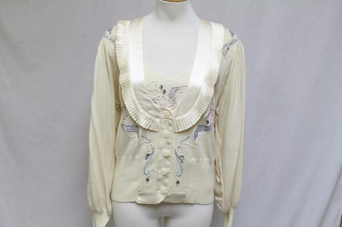 Vintage 1980's Marc D'Alcy Embroidered Cardigan Set